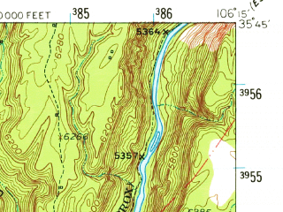 Reduced fragment of topographic map en--usgs--063k--062147--(1953)--N035-45_W106-30--N035-30_W106-15; towns and cities Cochiti, Pena Blanca, Santo Domingo Pueblo