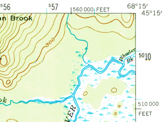 Reduced fragment of topographic map en--usgs--063k--062149--(1957)--N045-15_W068-30--N045-00_W068-15 in area of Saponac Pond