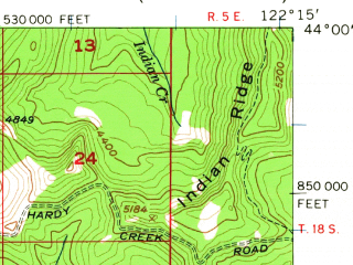 Reduced fragment of topographic map en--usgs--063k--062156--(1956)--N044-00_W122-30--N043-45_W122-15