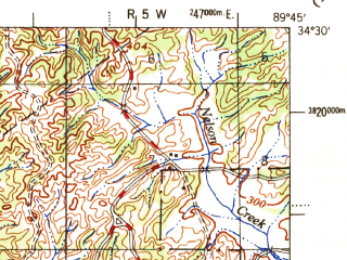 Reduced fragment of topographic map en--usgs--063k--062158--(1953)--N034-30_W090-00--N034-15_W089-45; towns and cities Batesville, Sardis