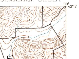 Reduced fragment of topographic map en--usgs--063k--062170--(1892)--N042-15_W090-15--N042-00_W090-00; towns and cities Sabula, Savanna