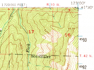 Reduced fragment of topographic map en--usgs--063k--062179--(1955)--N041-30_W123-15--N041-15_W123-00
