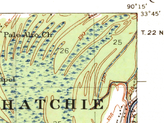 Reduced fragment of topographic map en--usgs--063k--062190--(1939)--N033-45_W090-30--N033-30_W090-15; towns and cities Itta Bena, Schlater