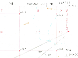 Reduced fragment of topographic map en--usgs--063k--062201--(1964)--N039-00_W119-00--N038-45_W118-45; towns and cities Schurz