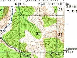 Reduced fragment of topographic map en--usgs--063k--062206--(1923)--N039-45_W111-15--N039-30_W111-00 in area of Scofield Reservoir; towns and cities Scofield