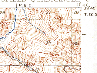 Reduced fragment of topographic map en--usgs--063k--062206--(1925)--N039-45_W111-15--N039-30_W111-00 in area of Scofield Reservoir; towns and cities Scofield