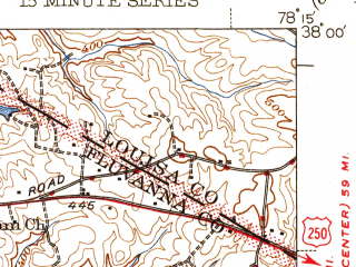 Reduced fragment of topographic map en--usgs--063k--062219--(1946)--N038-00_W078-30--N037-45_W078-15; towns and cities Lake Monticello, Scottsville