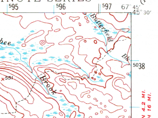 Reduced fragment of topographic map en--usgs--063k--062221--(1941)--N045-30_W068-00--N045-15_W067-45 in area of West Musquash Lake, Pleasant Lake, Oxbrook Lakes