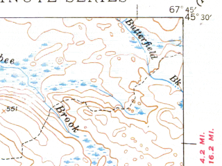 Reduced fragment of topographic map en--usgs--063k--062221--(1944)--N045-30_W068-00--N045-15_W067-45 in area of West Musquash Lake, Pleasant Lake, Oxbrook Lakes