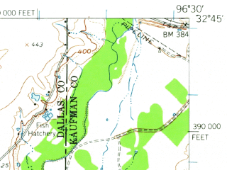 Reduced fragment of topographic map en--usgs--063k--062228--(1959)--N032-45_W096-45--N032-30_W096-30; towns and cities Balch Springs, Seagoville, Wilmer, Combine, Ferris