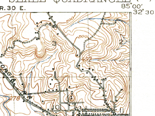 Reduced fragment of topographic map en--usgs--063k--062230--(1914)--N032-30_W085-15--N032-15_W085-00; towns and cities Phenix City, Ladonia