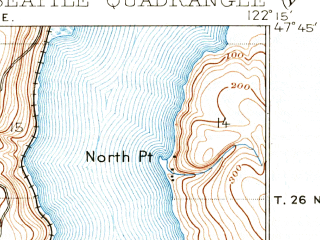 Reduced fragment of topographic map en--usgs--063k--062236--(1908)--N047-45_W122-30--N047-30_W122-15 in area of Lake Washington Ship Canal, Lake Union, Union Bay; towns and cities Seattle, Sheridan Beach
