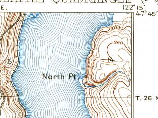 Reduced fragment of topographic map en--usgs--063k--062236--(1909)--N047-45_W122-30--N047-30_W122-15 in area of Lake Washington Ship Canal, Lake Union, Union Bay; towns and cities Seattle, Sheridan Beach