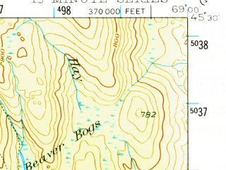 Reduced fragment of topographic map en--usgs--063k--062241--(1940)--N045-30_W069-15--N045-15_W069-00 in area of Houston Pond