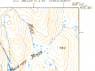 Reduced fragment of topographic map en--usgs--063k--062241--(1943)--N045-30_W069-15--N045-15_W069-00 in area of Houston Pond