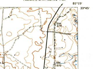 Reduced fragment of topographic map en--usgs--063k--062264--(1944)--N033-45_W081-30--N033-30_W081-15; towns and cities Salley, Wagener, Perry