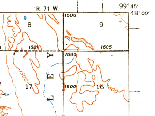 Reduced fragment of topographic map en--usgs--063k--062322--(1941)--N048-00_W100-00--N047-45_W099-45; towns and cities Harvey