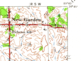 Reduced fragment of topographic map en--usgs--063k--062325--(1944)--N034-45_W090-00--N034-30_W089-45; towns and cities Coldwater, Como, Senatobia
