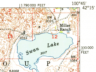 Reduced fragment of topographic map en--usgs--063k--062327--(1951)--N042-15_W101-00--N042-00_W100-45; towns and cities Seneca