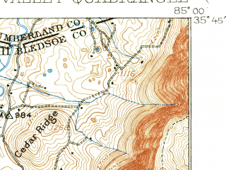 Reduced fragment of topographic map en--usgs--063k--062340--(1909)--N035-45_W085-15--N035-30_W085-00; towns and cities Pikeville