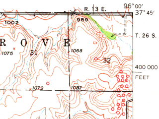 Reduced fragment of topographic map en--usgs--063k--062354--(1939)--N037-45_W096-15--N037-30_W096-00 in area of Fall Lake; towns and cities Severy, Climax, Fall River