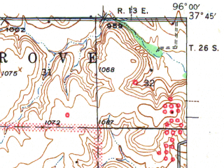 Reduced fragment of topographic map en--usgs--063k--062354--(1941)--N037-45_W096-15--N037-30_W096-00 in area of Fall Lake; towns and cities Climax, Fall River, Severy