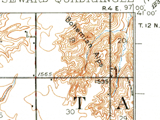 Reduced fragment of topographic map en--usgs--063k--062359--(1939)--N041-00_W097-15--N040-45_W097-00; towns and cities Seward, Staplehurst, Tamora, Goehner