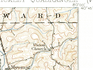 Reduced fragment of topographic map en--usgs--063k--062388--(1906)--N040-45_W080-15--N040-30_W080-00; towns and cities Ross Township, Mccandless Township, Franklin Park, Ambridge, Coraopolis