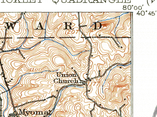 Reduced fragment of topographic map en--usgs--063k--062388--(1908)--N040-45_W080-15--N040-30_W080-00; towns and cities Ross Township, Mccandless Township, Franklin Park, Baden, Economy