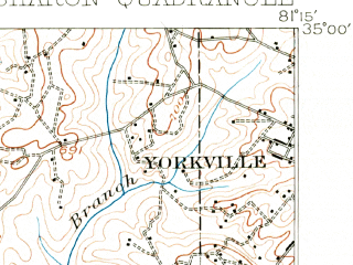 Reduced fragment of topographic map en--usgs--063k--062402--(1907)--N035-00_W081-30--N034-45_W081-15; towns and cities Hickory Grove, Lockhart, Sharon