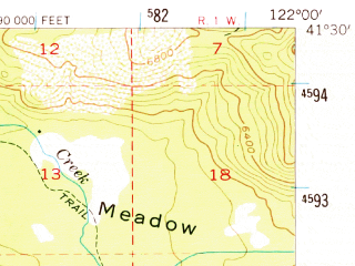 Reduced fragment of topographic map en--usgs--063k--062407--(1954)--N041-30_W122-15--N041-15_W122-00; towns and cities Mccloud