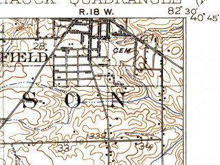 Reduced fragment of topographic map en--usgs--063k--062409--(1915)--N040-45_W082-45--N040-30_W082-30 in area of Clear Fork Reservoir; towns and cities Bellville, Lexington