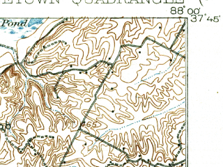 Reduced fragment of topographic map en--usgs--063k--062415--(1916)--N037-45_W088-15--N037-30_W088-00; towns and cities Junction, Old Shawneetown, Shawneetown