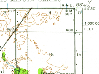 Reduced fragment of topographic map en--usgs--063k--062425--(1942)--N039-30_W089-00--N039-15_W088-45; towns and cities Shelbyville, Tower Hill