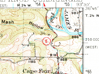 Reduced fragment of topographic map en--usgs--063k--062429--(1950)--N036-45_W093-45--N036-30_W093-30; towns and cities Emerald Beach, Chain-o-lakes
