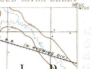 Reduced fragment of topographic map en--usgs--063k--062434--(1895)--N041-00_W098-45--N040-45_W098-30; towns and cities Shelton, Wood River