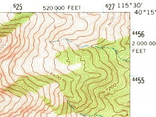 Reduced fragment of topographic map en--usgs--063k--062448--(1959)--N040-15_W115-45--N040-00_W115-30