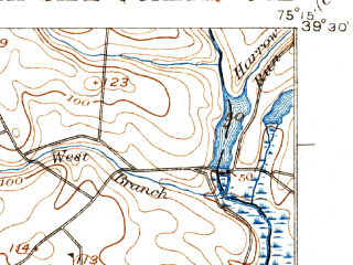 Reduced fragment of topographic map en--usgs--063k--062456--(1931)--N039-30_W075-30--N039-15_W075-15 in area of Cohansey; towns and cities Shiloh