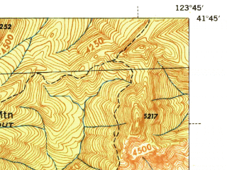 Reduced fragment of topographic map en--usgs--063k--062465--(1945)--N041-45_W124-00--N041-30_W123-45; towns and cities Klamath