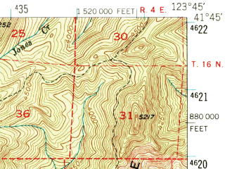 Reduced fragment of topographic map en--usgs--063k--062465--(1952)--N041-45_W124-00--N041-30_W123-45; towns and cities Klamath