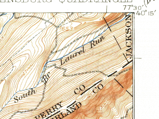 Reduced fragment of topographic map en--usgs--063k--062467--(1923)--N040-15_W077-45--N040-00_W077-30; towns and cities Shippensburg, Newburg, Orrstown