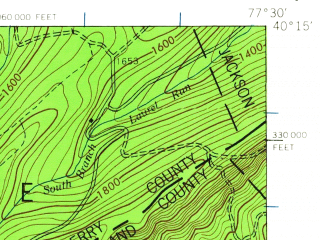 Reduced fragment of topographic map en--usgs--063k--062467--(1943)--N040-15_W077-45--N040-00_W077-30; towns and cities Shippensburg, Newburg, Orrstown