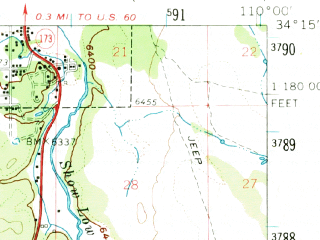 Reduced fragment of topographic map en--usgs--063k--062502--(1961)--N034-15_W110-15--N034-00_W110-00; towns and cities Show Low