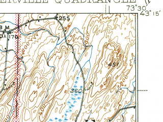 Reduced fragment of topographic map en--usgs--063k--062527--(1940)--N043-15_W073-45--N043-00_W073-30 in area of Batten Kill; towns and cities Schuylerville, Victory Mills