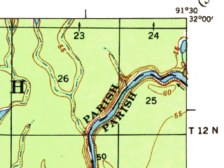 Reduced fragment of topographic map en--usgs--063k--062531--(1941)--N032-00_W091-45--N031-45_W091-30 in area of Lovelace Lake; towns and cities Sicily Island, Wisner