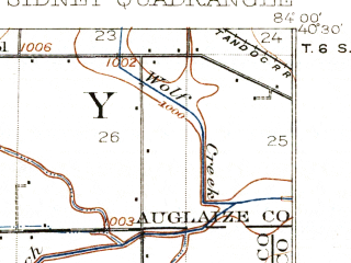 Reduced fragment of topographic map en--usgs--063k--062534--(1913)--N040-30_W084-15--N040-15_W084-00; towns and cities Sidney, Jackson Center, Port Jefferson, Anna