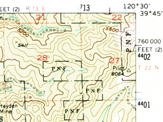 Reduced fragment of topographic map en--usgs--063k--062540--(1955)--N039-45_W120-45--N039-30_W120-30 in area of Gold Lake, Long Lake, Milton Reservoir