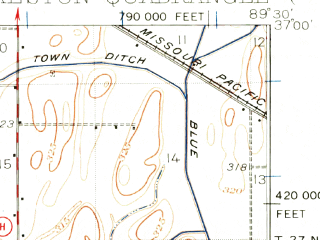 Reduced fragment of topographic map en--usgs--063k--062545--(1931)--N037-00_W089-45--N036-45_W089-30; towns and cities Sikeston, Canalou, Matthews, Miner