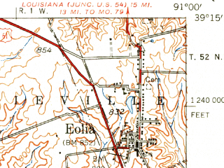 Reduced fragment of topographic map en--usgs--063k--062548--(1937)--N039-15_W091-15--N039-00_W091-00; towns and cities Cave, Eolia, Silex