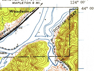 Reduced fragment of topographic map en--usgs--063k--062550--(1941)--N044-00_W124-15--N043-45_W124-00 in area of Siltcoos Lake, Tahkenitch Lake, Woahink Lake; towns and cities Florence, Dunes City